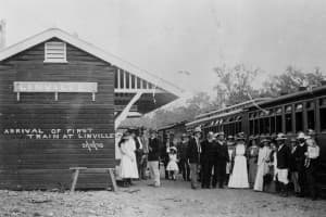 First train at Linville Station in 1910