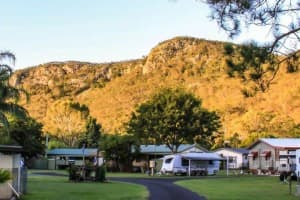 Glen Esk mountain is the beautiful backdrop to Esk Caravan Park