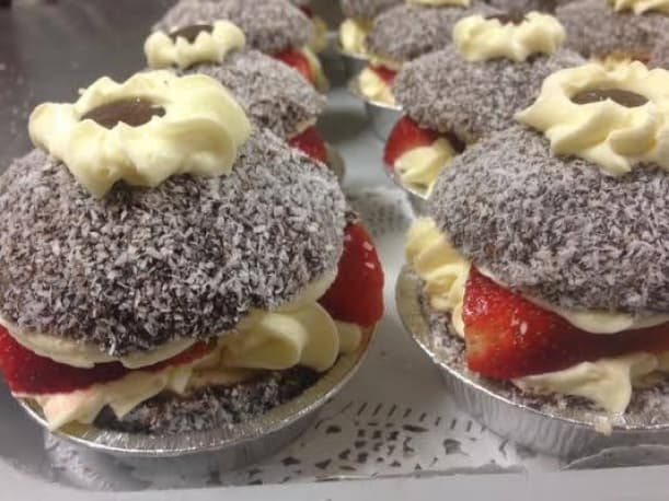 Little lamington cakes filled with farm fresh strawberry's and double cream
